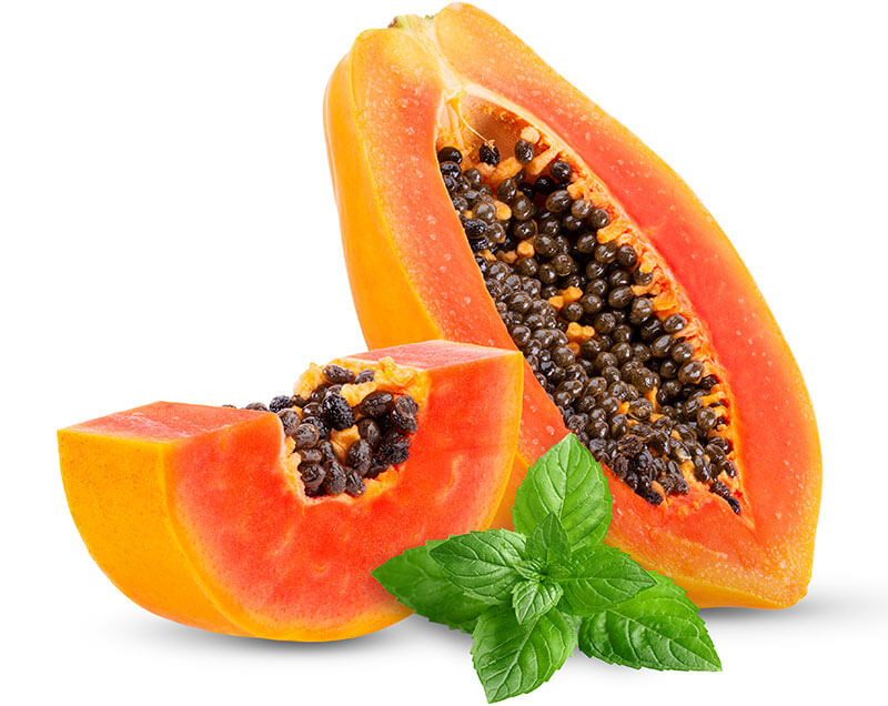 papaya fruit and mint leaves