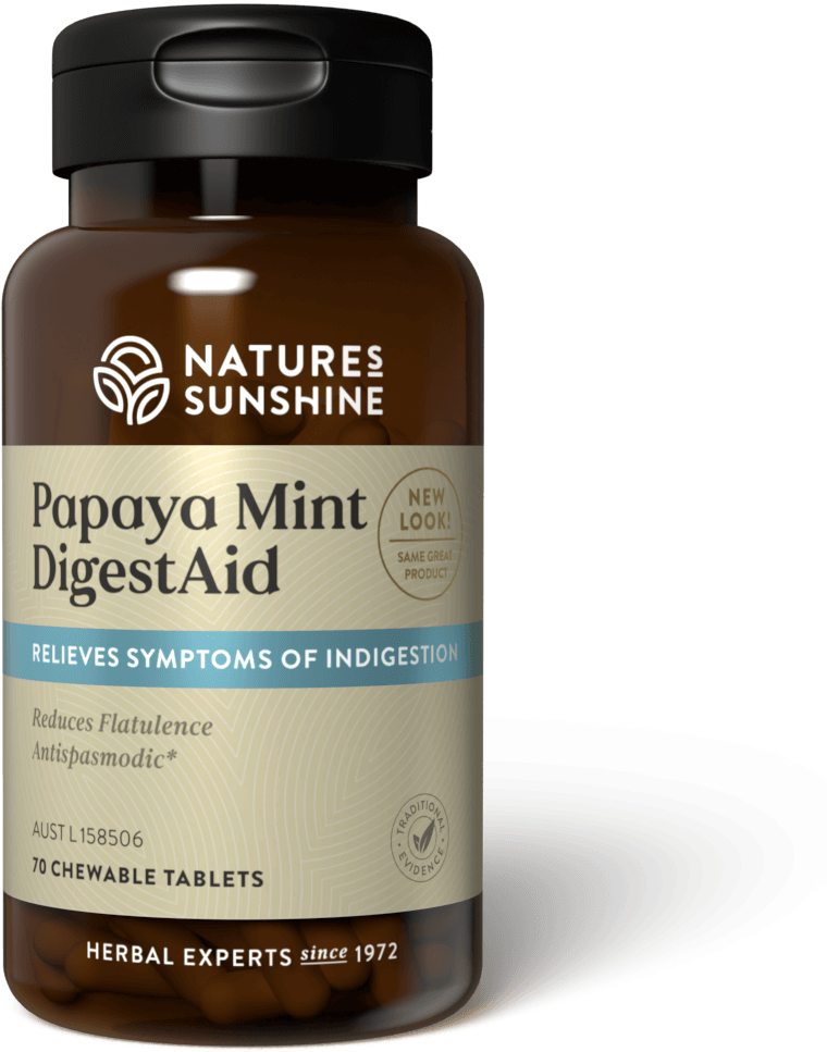 bottle of Nature's Sunshine Papaya Mint DigestAid