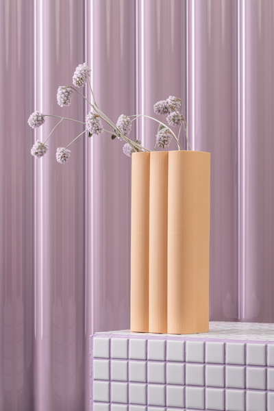 billow vase in blush peach