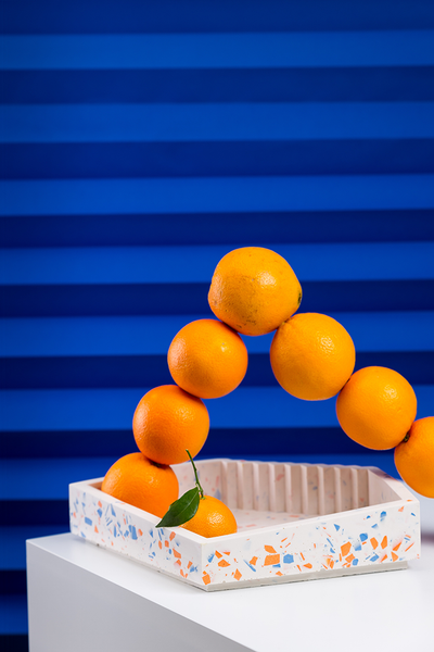 freckled bowl - orange/blue
