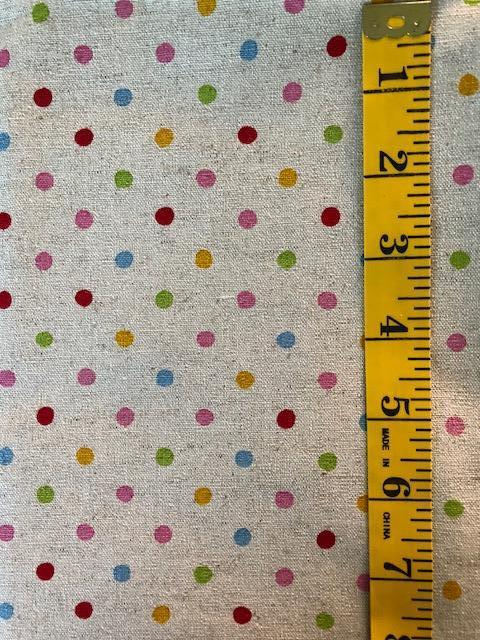 Fabric - Spot - Multi Coloured on Natural Background