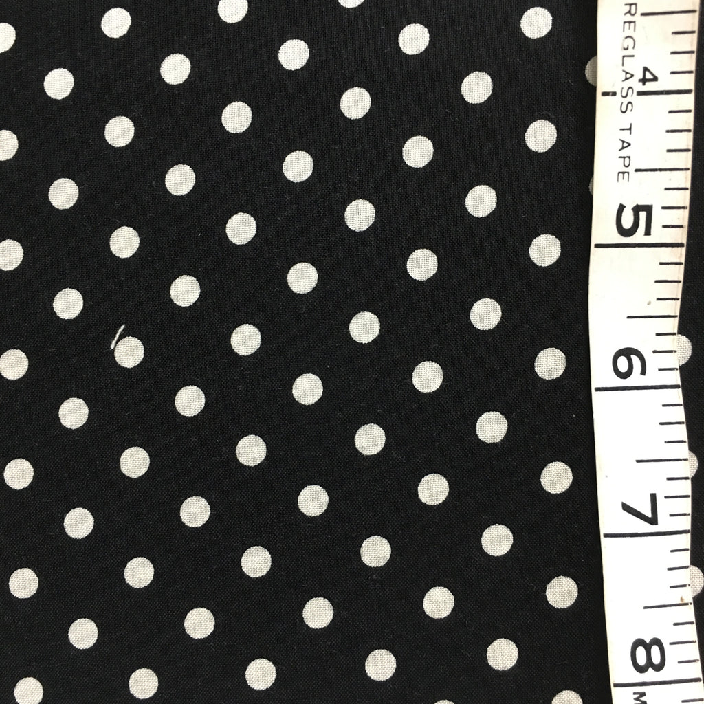 Fabric - Spot - Medium Scale White spot on Black Background