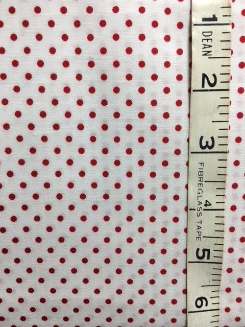 Fabric - Spot - Small Scale Red with White Background