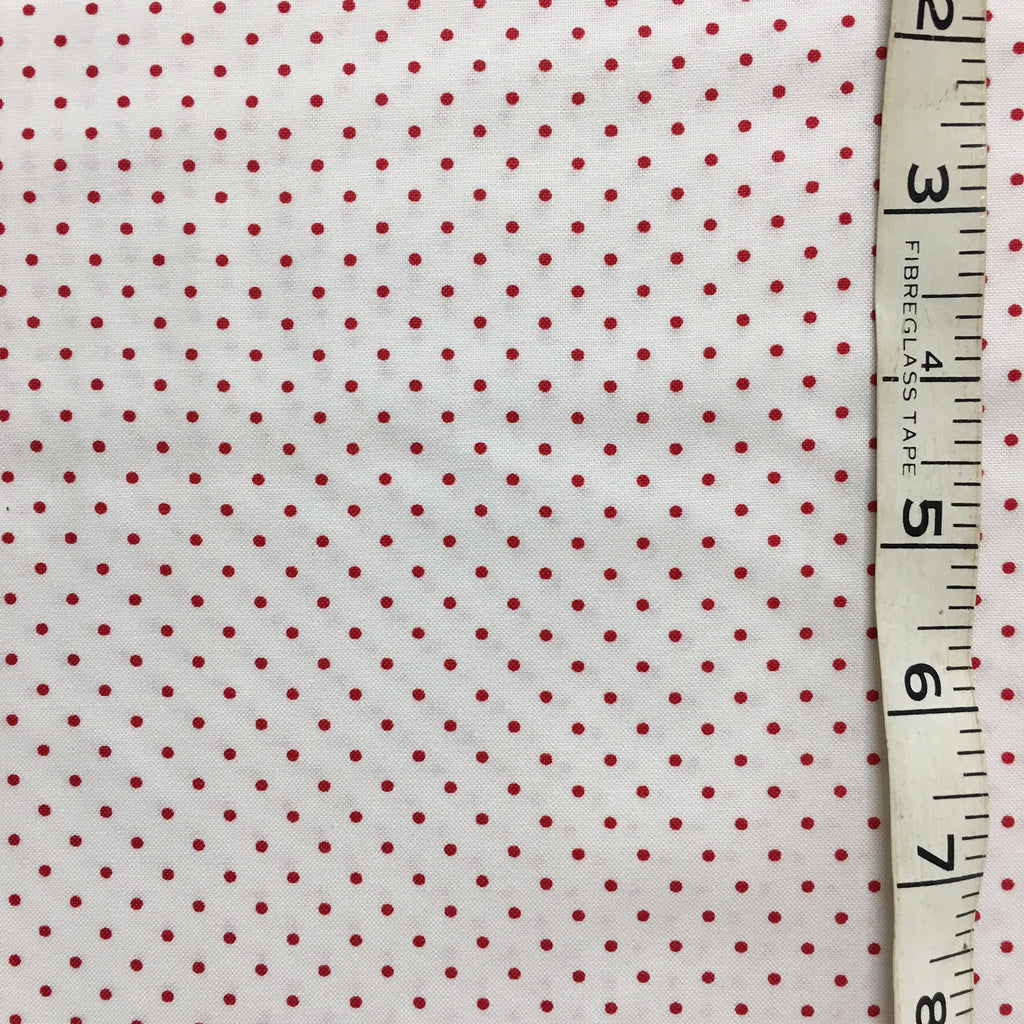 Fabric - Spot - Small Red on white background