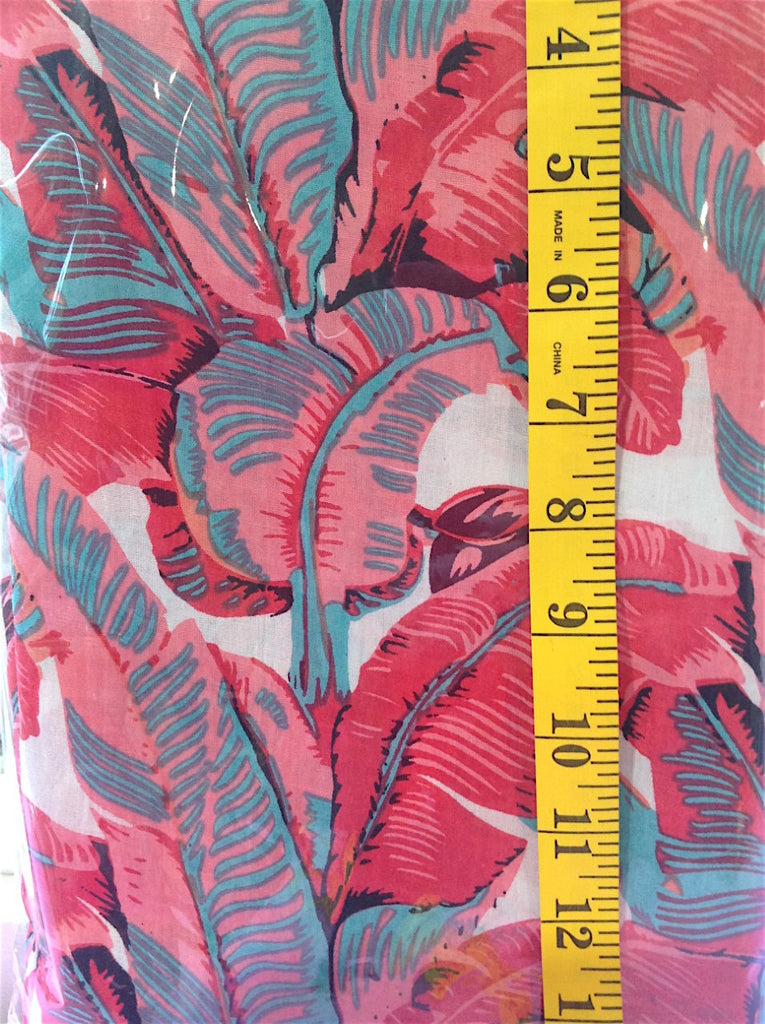 Fabric - Quilt Backing - Aqua & Pink Tropical Leaves on White Background