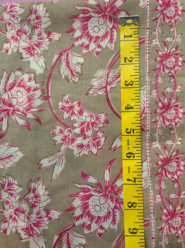 Fabric - Quilt Backing - Pink & Off White Floral Vines on Deep Beige Background