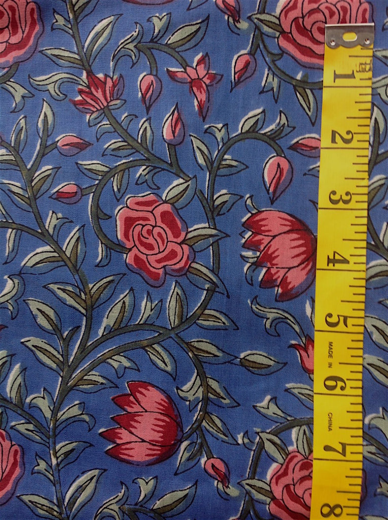Fabric - Quilt Backing - Pink & Green Floral Vines on Blue Background