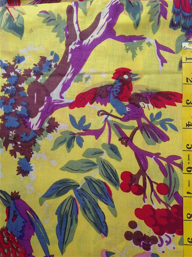 Fabric - Quilt Backing - Multi Coloured Floral with Large Birds on Bright Yellow Background