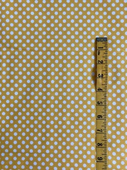 Fabric - Spot - Medium Scale White Dot on Yellow Background