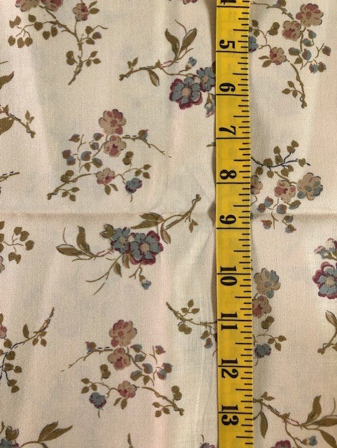 Fabric - Floral - Medium Scale on Beige Background