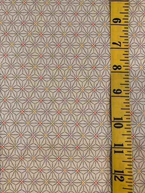 Fabric - Geometric - Diamonds & Spots on Natural Background