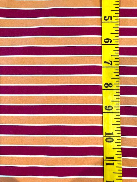 Fabric - Stripe - Red & Orange with a Fine White Stripe