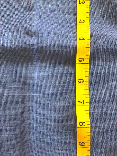 Fabric - Japanese -  plain blue Linen look.