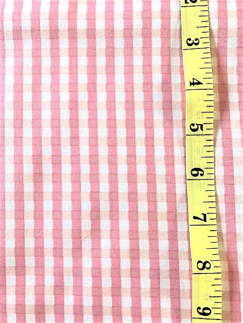 Fabric - Checks & Plaids -  medium scale Pink & Peach Yuwa