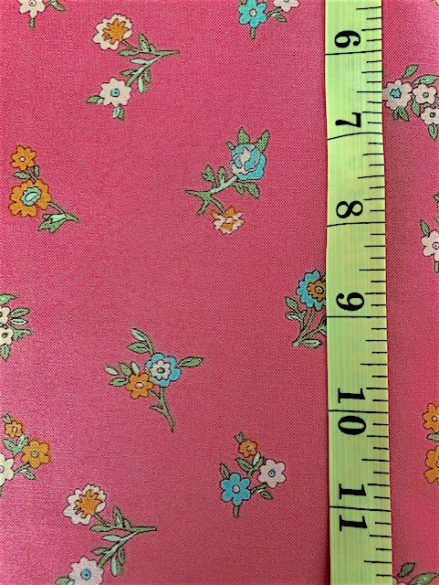 Fabric - Floral - Small Multi Coloured Bunches on Deep Pink Background Liberty