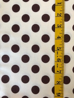 Fabric - Spot - Medium/Large ScaleChocolate Brown on Cream Background