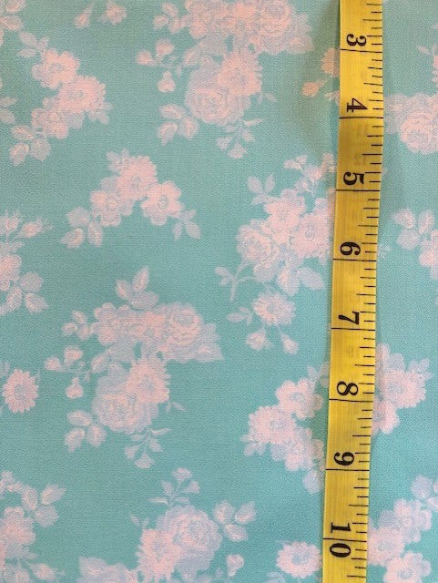 Fabric - Floral - Medium Scale White and Soft Blue on Tiffany Blue Background