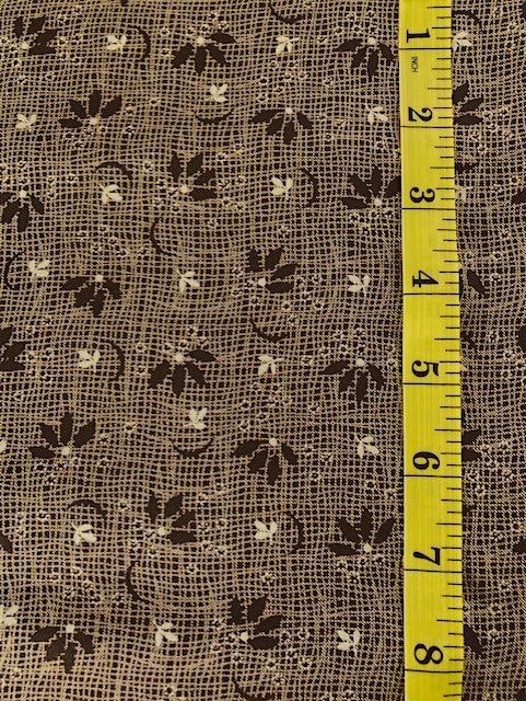 Fabric - Shirting - Dark Brown & White Stylized Flowers on Brown Cross Hatched Background