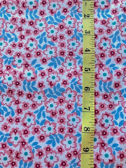Fabric - Floral - Small Scale Pink Flowers & Blue Leaves on White Background