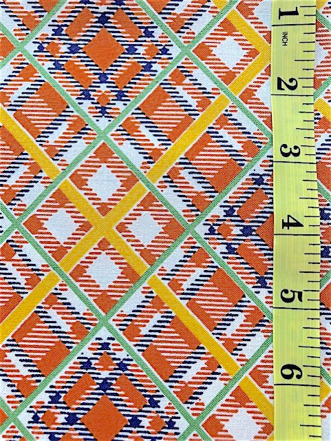 Fabric - Checks & Plaids - Orange, Blue, Green & Yellow Plaid