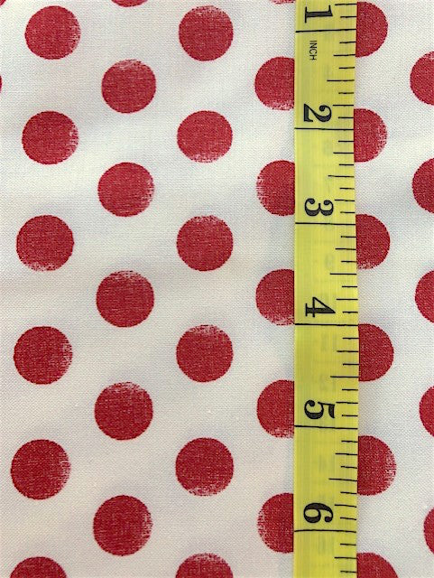Fabric - Spot - Red on Off White Background
