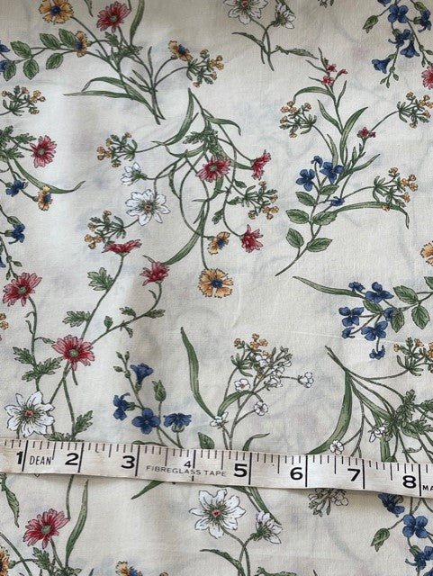 Fabric - Dargate Collection - Small Floral on Red Background