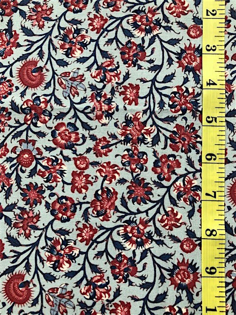 Fabric - Dutch Heritage Collection - Red & Blue Floral on Pale Blue Background