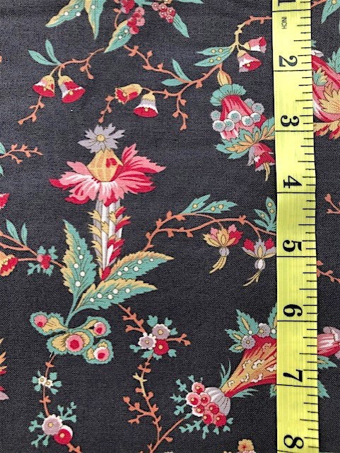Fabric - Dutch Heritage Collection - Multi Coloured Floral on Black Background
