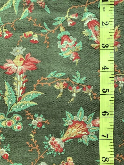 Fabric - Dutch Heritage Collection - Multi Coloured Floral on Green Background