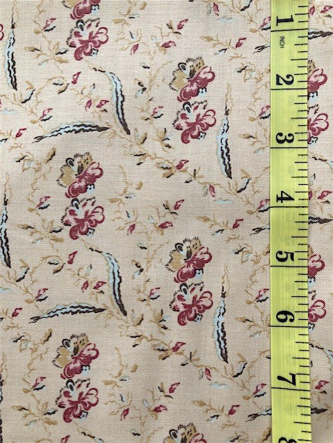 Fabric - Dutch Heritage Collection - Mottled Flowers & Leaves on Ecru Background