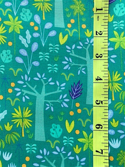 Fabric - Floral - Multi Coloured Forest on Green Background