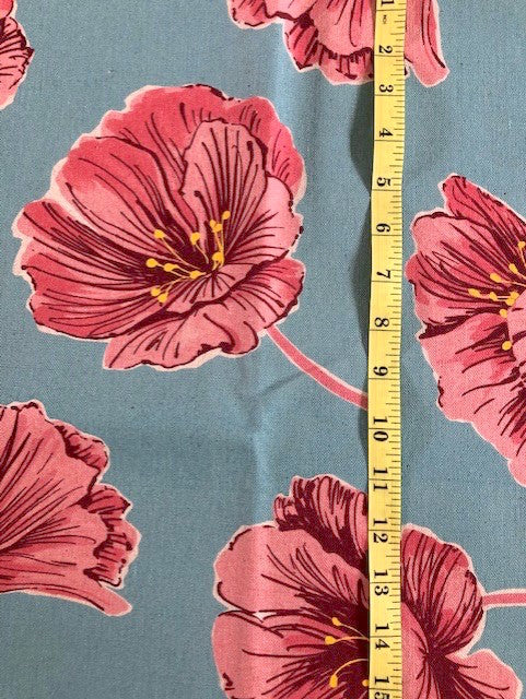 Fabric - Floral - Extra Large Poppies on Blue Background