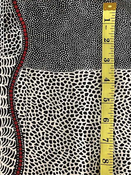 Fabric - Animal Print - Black with Red Aboriginal Print
