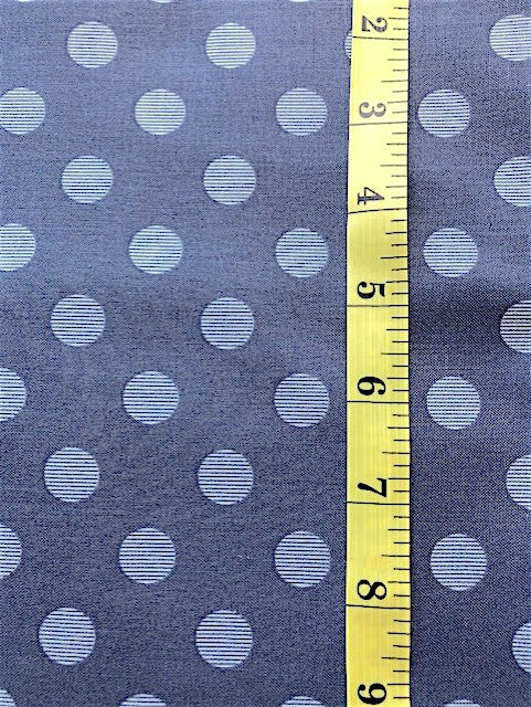 Fabric - Spots - Medium Scale with fine stripe on French Navy Background