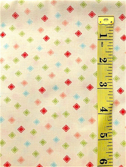Fabric - Geometric - Multi Coloured Squares within Squares on Vanilla Background