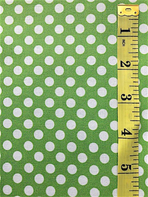 Fabric - Spots - Medium Scale White on Apple Green Background