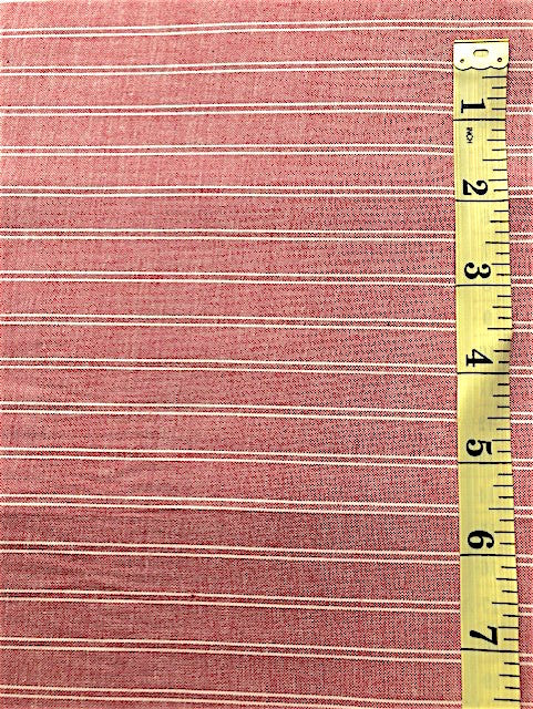 Fabric - Stripe - Woven Red & Off White