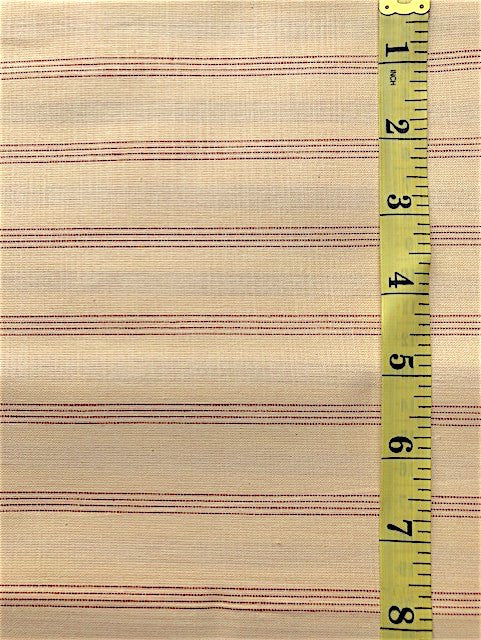 Fabric - Stripe - Woven Dark Cream & Red
