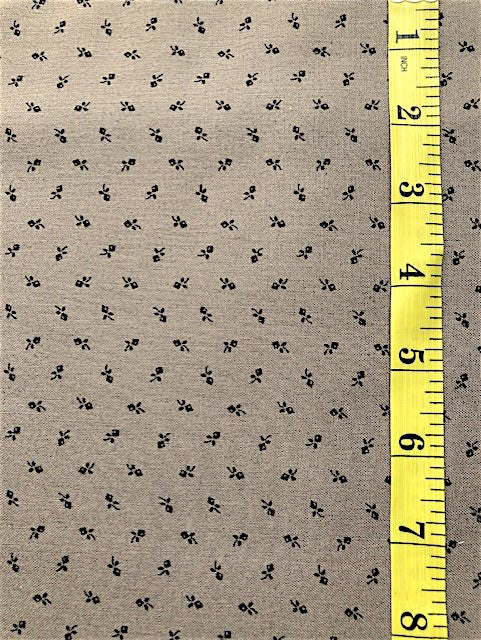 Fabric - Reproduction - Small Scale Black Rosebud on Donkey Brown Background