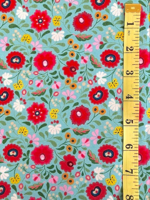 Fabric - Floral - Small Scale Multi Coloured on Aqua Background