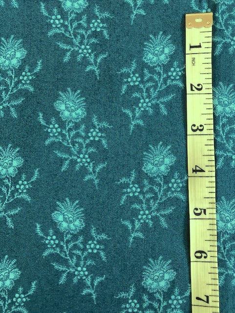Fabric - Floral - Flowers on Dark Blue/Green Background