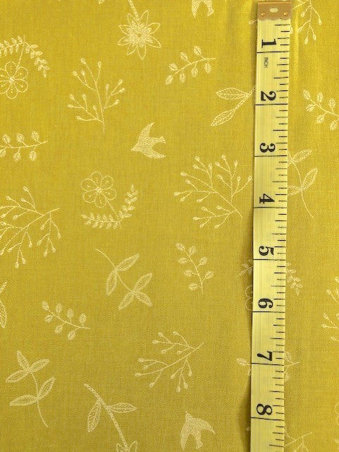 Fabric - Floral - Line Drawings on Leaves, Flowers & Birds on Mustard/Gold Background
