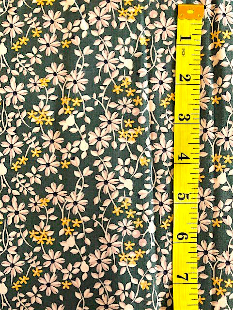 Fabric - Floral - Small Flowers on Bottle Green Background