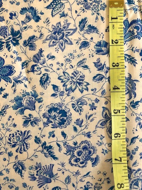 Fabric - Dutch Heritage - Blue Floral on Cream Background