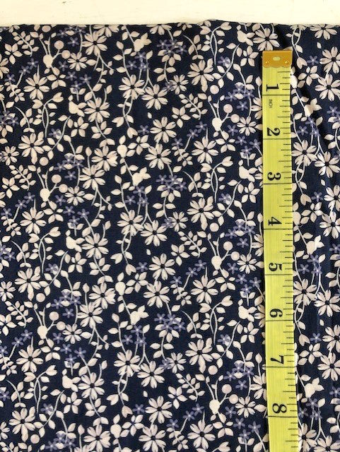 Fabric - Floral - Off White Flowers on Navy Background