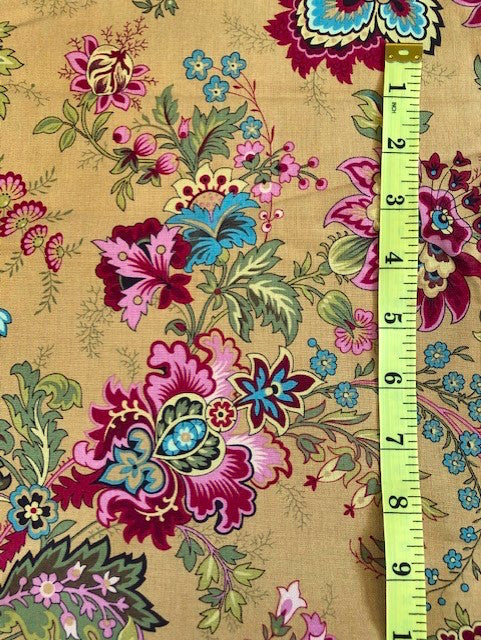 Fabric - Dutch Heritage - Multi Coloured Floral on Mustard/Gold Background