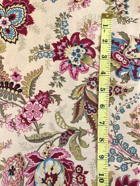 Fabric - Dutch Heritage Collection - Large Multi Coloured Floral on Ecru Background