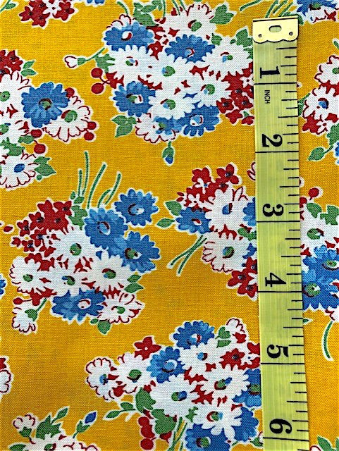 Fabric - Floral - Medium Scale Bunches on Yellow/Gold Background