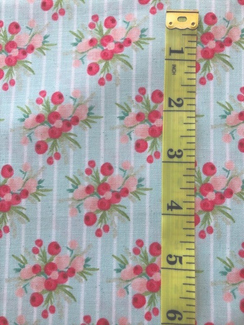 Fabric - Floral - Bunches of Coral Pinks with  Pale Green Stripe Background