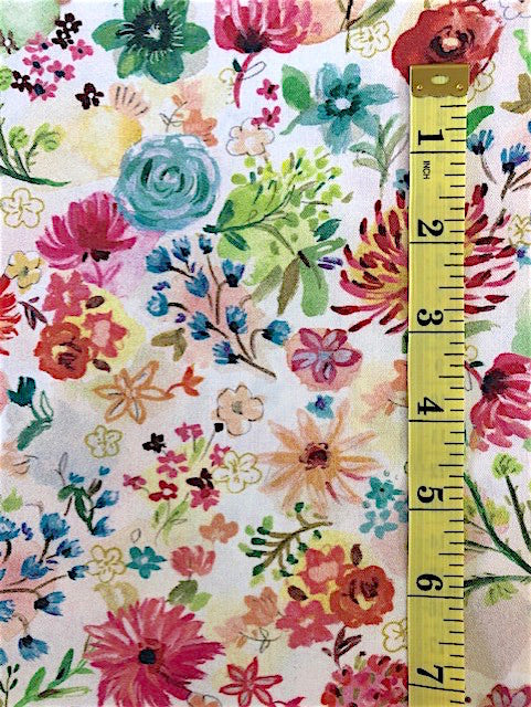 Fabric - Floral - Medium Scale multi coloured flowers on colour wash background